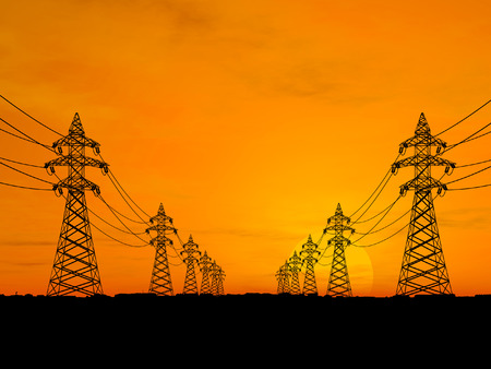 High voltage electricity pylon over sunset Stock Photo - 1470968