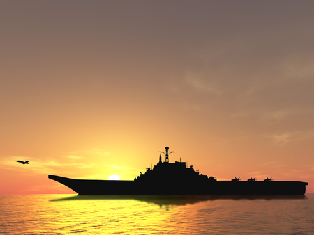 Aircraft carrier on sea near Iraq over sunset Stock Photo - 1470975