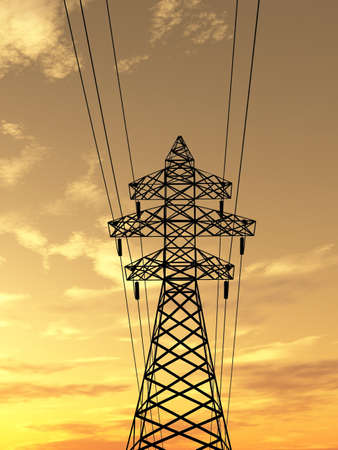 Electric powerlines over sunrise Stock Photo - 1470970