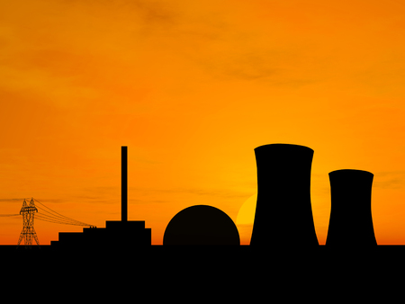 Nuclear power plant over sunset photo