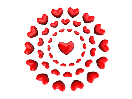 Red hearts in circles over whiite photo