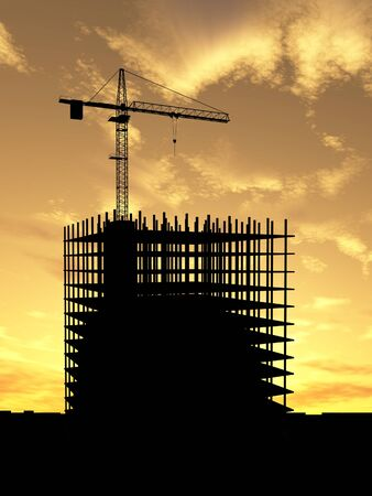 Crane build construction over sunset Stock Photo - 1470965