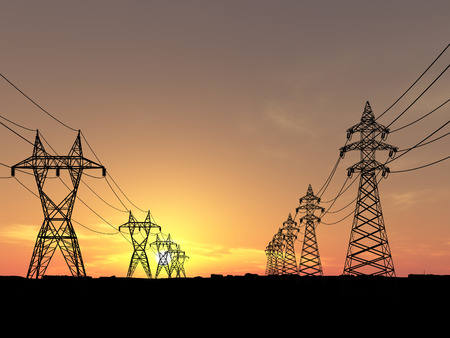 Electric powerlines over sunrise photo