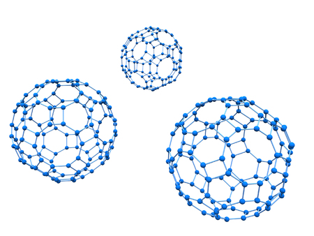 Logo Three Blue molecules over white background photo