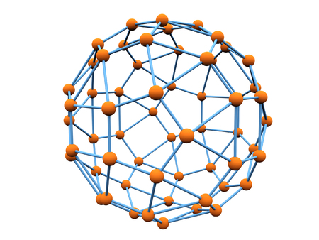 Blue molecule with orange atoms over white background photo