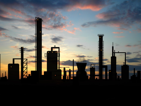 Oil refinery factory over sunrise Stock Photo