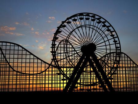 roller: Noria y el parque de atracciones  Foto de archivo