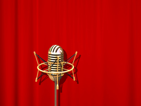 Retro professional microphone over red curtain photo