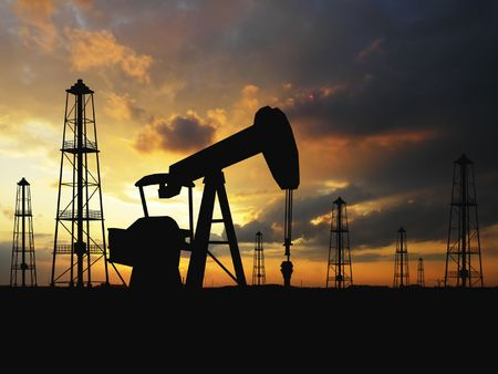 depletion: Pumps over orange sky