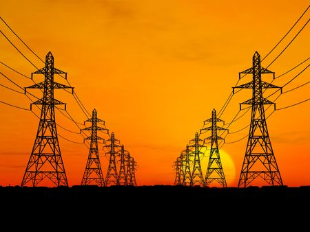 3D Electric powerlines over sunrise Stock Photo - 2738452
