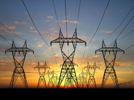 3D Electric powerlines over sunrise photo