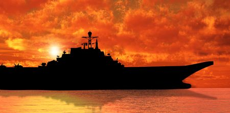 warship: Aircraft carrier on sea near Iraq over sunset Stock Photo