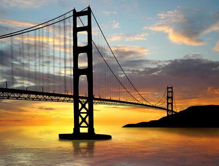 Golden Gate Bridge over sunset