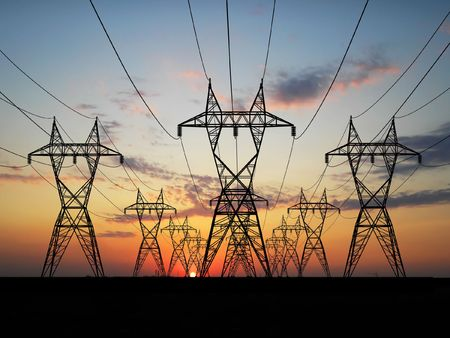 transmission line: 3D Electric powerlines over sunrise Stock Photo