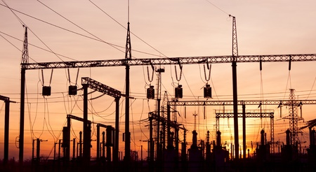 insulators: Electric Substation Stock Photo