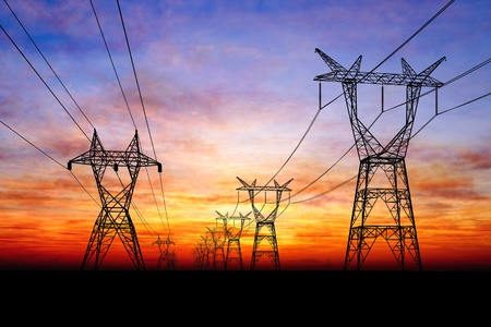 substation: Electricity pylons Stock Photo