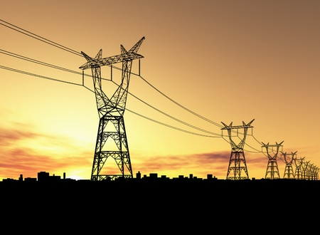 power cable: Electricity pylons Stock Photo