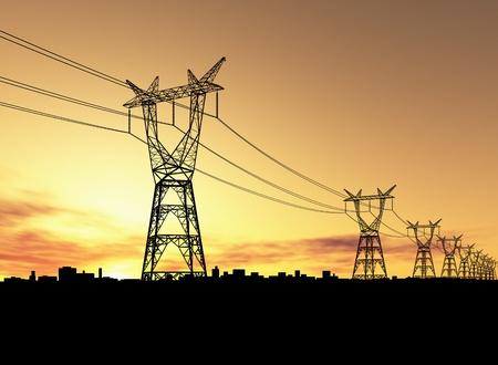 energia electrica: Torres de electricidad Foto de archivo