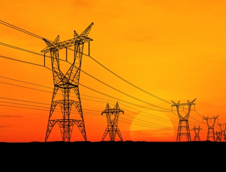 electricity supply: Electricity pylons Stock Photo