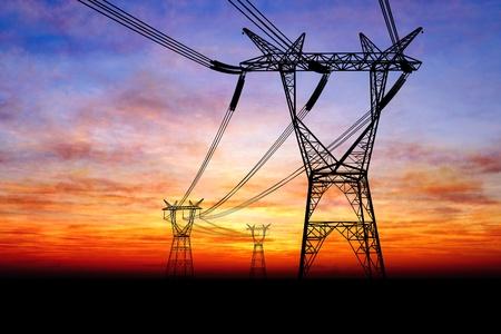 pylons: Electricity pylons Stock Photo