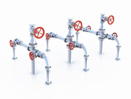 flange: Oil Valves system. Stock Photo