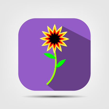 Flower flat icon with long shadow, vector illustration