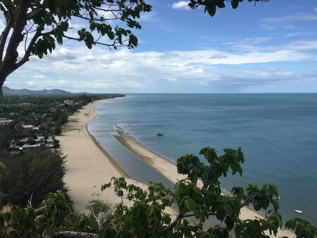 view: Top view sea beach at Pranburi,Prachuap Kiri Khan,Thailand