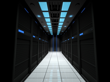 led display: Server room Stock Photo