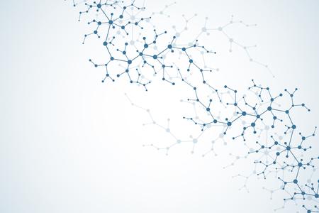 Concepto molecular de neuronas y sistema nervioso. Investigación médica científica. Estructura de la molécula con partículas. Molécula de fondo de ciencia y tecnología para banner o flyer. Ilustración vectorial Ilustración de vector