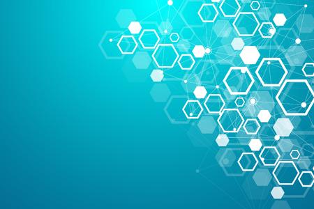 抽象的な医学的背景。DNA研究。医学、科学、技術のための六角形の構造分子とコミュニケーションの背景。ベクトル図