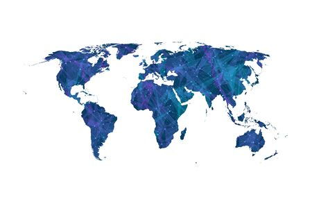 Colorful world map vector. Global network connections with points and lines. Internet connection background. Abstract connection structure