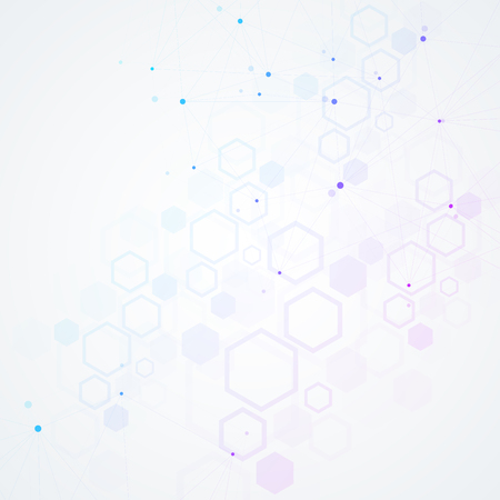 Abstract polygonal background with connected lines and dots. Minimalistic geometric pattern. Molecule structure and communication. Graphic plexus background. Science, medicine, technology concept Illustration