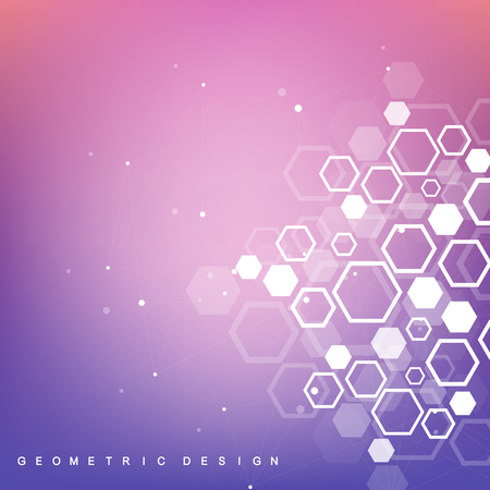 Structure molecule and communication. Dna, atom, neurons. Scientific molecule background for medicine, science, technology, chemistry. Vector geometric dynamic illustration