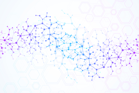 Scientific molecule background for medicine, science, technology, chemistry. Wallpaper or banner with a DNA molecules. Vector geometric dynamic illustration Stock fotó - 99099442