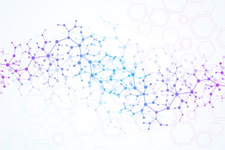 Wissenschaftlicher Molekülhintergrund für Medizin, Wissenschaft, Technologie, Chemie. Tapete oder Fahne mit DNA-Molekülen. Vektor geometrische dynamische Darstellung