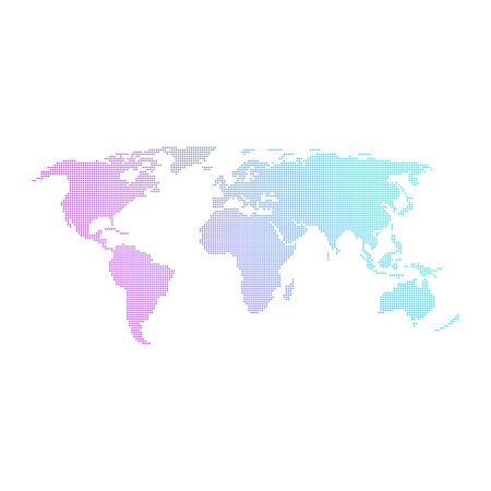 Colorful dotted world map vector design. Illustration
