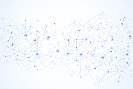 Global network connections with points and lines. Wireframe background. Abstract connection structure. Polygonal space background. Vector illustration Illustration