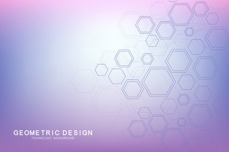 Abstract medical background. Science and connection vector concept. Hexagonal geometric array with dynamic moving particles. DNA, atom, helix, neurons, spiral Vettoriali