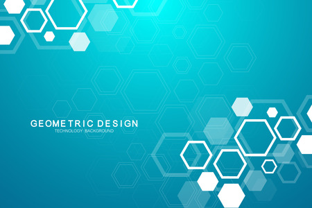Abstract medical background. Science and connection vector concept. Hexagonal geometric array with dynamic moving particles. DNA, atom, helix, neurons, spiral.