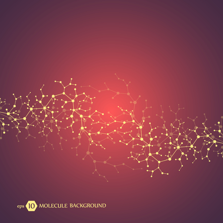 Molecules concept of neurons and nervous system. Scientific medical research. Molecular structure with particles. Science and technology background for banner or flyer. Eps 10 vector illustration.