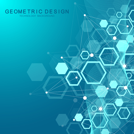 Hexagonal geometric background. Hexagons genetic and social network. Future geometric template. Business presentation for your design and text. Minimal graphic concept. Vector illustration. Ilustração