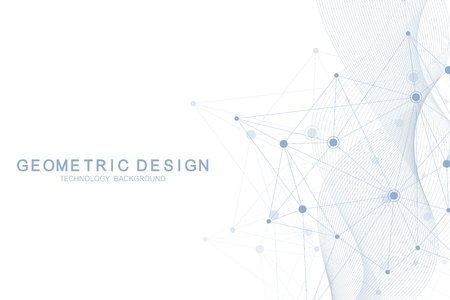 Abstract molecular network pattern with dynamic lines and points. Flow wave, sense of science and technology graphic design. Vector geometric illustration.
