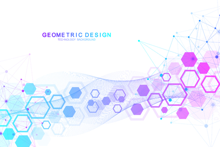 Background molecolare scientifico per medicina, scienza, tecnologia, chimica. Carta da parati o banner con molecole di DNA. Illustrazione dinamica geometrica di vettore.