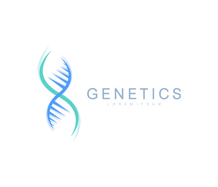 Science genetics logo, DNA helix. Genetic analysis, research biotech code DNA. Biotechnology genome chromosome. Vector illustration.