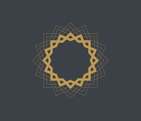 Arabic vector logo design template style. Abstract Islamic symbol. Emblem for luxury products, boutiques, jewelry, oriental cosmetics, hotels, restaurants, shops and stores.