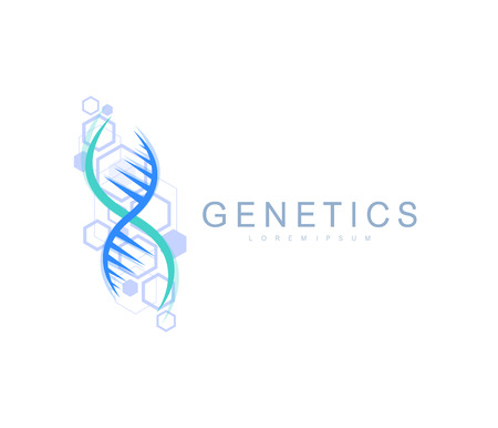 Science genetics icon, DNA helix. Genetic analysis, research biotech code DNA. Biotechnology genome chromosome.