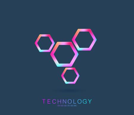 Molecule logo template, DNA helix icon. Vector illustration.