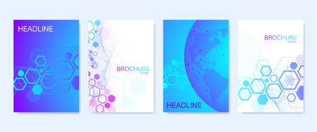 Business vector templates for brochure cover banner flyer annual report, leaflet. Abstract composition with molecule structure, dots, lines. Wave flow. Science, medicine, technology background Иллюстрация