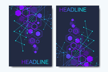 Business vector templates for brochure cover flyer annual report, leaflet. Abstract composition with molecule structure, dots, lines. Wave flow. Science, medicine, technology background Banque d'images - 114839248