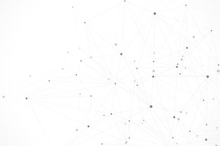 Abstracte veelhoekige achtergrond met aaneengesloten lijnen en punten. Minimalistisch geometrisch patroon. Molecuulstructuur en communicatie. Grafische plexus achtergrond. Wetenschap, geneeskunde, technologieconcept. Vector Illustratie